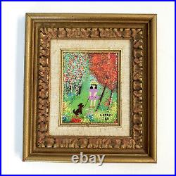 PAIR of Enamel On Copper Paintings By LOUIS CARDIN Framed Signed and Dated 1980