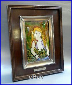 P. RenoirPortrait of a young Lady enamel picture, silver frame after Pierre Aug