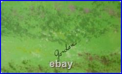 Painting Enamel On Copper Signed by Gordon Children Lifting Kites in the Field