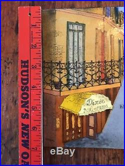 Painting Enamel on Copper Street Scene D. Sigal New Orleans Dixie Bar Of Music