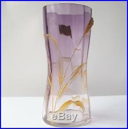 Pair, 2 Art Nouveau Glass Vases, Ears, Enamel Painting Moser Carlsbad um 1910