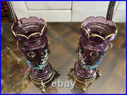 Pair Antique BOHEMIAN Purple ENAMEL Art Glass Mantle VASES Hd Painted BRONZE Ft