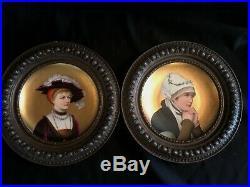 Pair Antique Hand Painted Porcelain Charges Metal Frames Gold & Enamel Decor