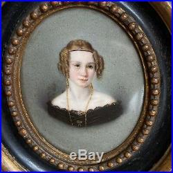 Pair Fine 19th Century Painted Enamel Portrait Miniatures On Porcelain, c. 1850