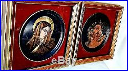Pair Italy Unique Enamel On Copper Painting Of A Jesus And Mary In Shedow Boxes