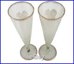 Pair Mont Joye Art Glass Iris Vases trumpet form Hand Painted Enamel early 20th