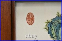 Pair Of Chinese Famille Rose Hand Painted Enameled Porcelain Plaques