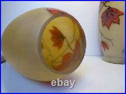 Pair Of Large Glass Vases Hand Painted Signed Ely Art Deco Period Enameled