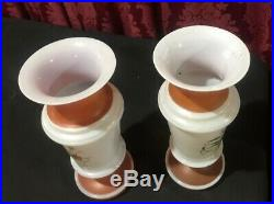 Pair Of Vintage Antique Floral Enamel Paint Decorated Bristol Art Glass 9 Vases