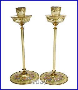 Pair Venetian Amber Art Glass Hand Painted Enamel Tall Candlesticks