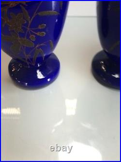 Pair Victorian Art Glass Vases 19th Century Gilt with Hand Painted Enamel Burds
