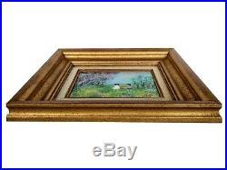 Pair Vintage Louis Cardin Signed Enamel on Copper Impressionist Painting