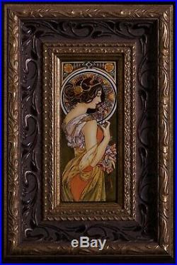 Pair enamel painting copy of Alphonse Mucha's Primrose/Feather hand painted