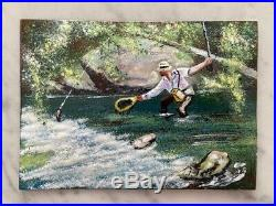Pair of Enamel Paintings on Copper Hunting & Fishing Scene Signed J. Talbot