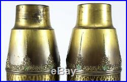 Pair of WMF Arts & Crafts Hand Painted Enameled Brass Vases, 19th Century