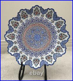 Persian Mina Kari Painted Handmade Fine Art brass Enamel Plate Wall Hanging