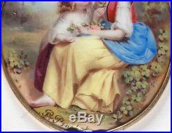 Philippe Prochietto (1825-1890) Two sisters in landscape, enamel miniature