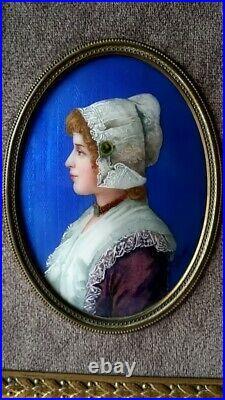 Portrait Woman Enamel Copper Painted Plaque French Frame