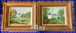 Preowned Limited Edition 1978 Louis Cardin Enamel On Copper Art Paintings Set