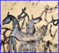 Purvis Young Horses And Spirit Dancers Enamel Paint On Two Manila File Folders