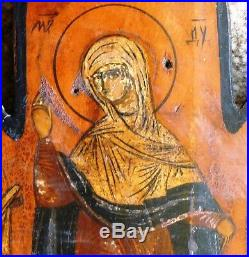 RARE Antique Russian Icon Hand-Painted Enamel, MARY WITH 6 SAINTS circa 1750