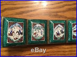 RARE Vintage Hand Painted Indo-PERSIAN Enamel Art Tiles (25) & Silver Story Belt