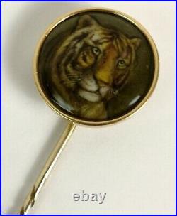 RARE William Essex Enamel Tiger's Head Portrait Gold Stick Pin c1860