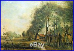 ROAD of SAINT-LE-NOBLE- Miniature enameled on hammered copper plate (of COROT)
