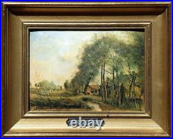 ROAD of SIN-LE-NOBLE Miniature enameled on hammered copper plate (COROT)