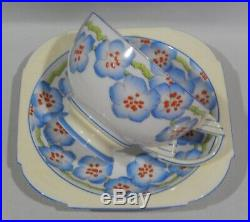 Rare 1920s PARAGON Art Deco ALMOND BORDER CUP & SAUCER Hand painted & Enamelled