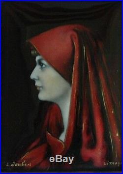 Rare Antique Enamel Limoges Plaque of Virgin Saint Fabiola Signed L. Joubert