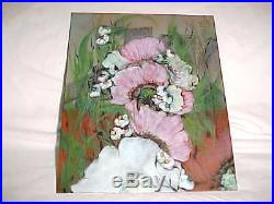 Rare Exhibited Signed Lilyan Bachrach Enamel Copper Art Modern Flower Painting