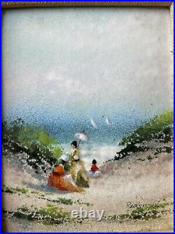 Rare, Larger, Signed Parthesius Enamel On Copper Painting Picnic By The Sea