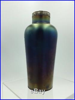 Rare Loetz 1900 Rubin Matte Iris Hand Painted Enamel Iridescent Art Glass Vase