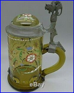 Rare MOSER Antique Hand Painted Enamel Art Glass Tankard with Cat Handle RARE 1899