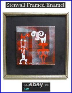 Rare, Superb, Surreal, MID Century Modern John Stenvall Signed Enamel Artwork