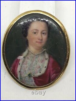 Rare c1710 Queen Anne Period Enamel On Gold Portrait Miniature Painting Gold Fra