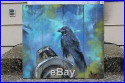 Raven bird totem pole Haida native wildlife art finger painting enamel on wood