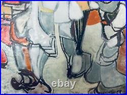Richard Loving Mid Century Modern Enamel Art Wood Framed Signed Abstract 36 inch