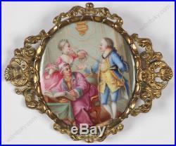Rococo Scene, Enamel Miniature, Brooch, 19th Century