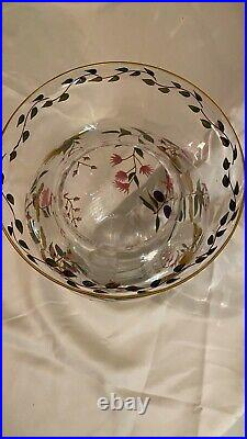Romanian Crystal Clear Art Glass Vase WithPainted enamel Floral Decoration