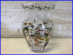 Romanian Crystal Clear Art Glass Vase with Painted Enamel Floral Decoration