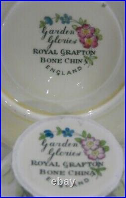 Royal Grafton GARDEN GLORIES Floral CUP & SAUCER Hand Painted & Enamel Art Deco
