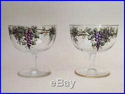 SET 4 JUGENDSTIL ART NOUVEAU ENAMEL PAINTED DRINKING WINE HOCK GLASSES 1900s