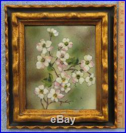 STEFFY AUERBACH ENAMEL COPPER ART PAINTING Pink Dogwood Flowers FL NY Artist VTG