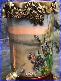 STUNNING ART NOUVEAU ENAMEL PAINTED LAMP LADY IRIS Sezessionstil Jugendstil