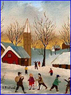 S. Richard Vintage Enamel on Copper Painting