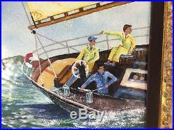 Sailing Regatta Painting Enamel on Copper ORIGINAL TALBOT