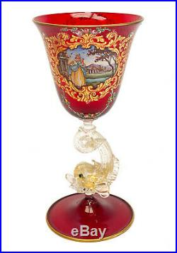 Salviati Cranberry Red Art Glass Hand Painted Enamel Wine Goblet, Dolphin Stem