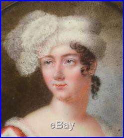School of Geneva Lady in Empire dress, high quality enamel miniature! , 1810/15